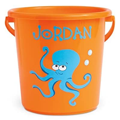 """Lillian Vernon Personalized Kids Fun-in-The-Sand Orange Bucket - Octopus Beach Bucket is 7"""" H, Great as Easter Basket: Toys & Games"""