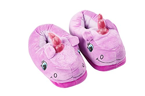 Soft Novelty Gift Ideal Festival Suitable Slippers YUWELL Purple On Unicorn Christmas For Plush Slip Adult Slippers Tv6xxOnEwq