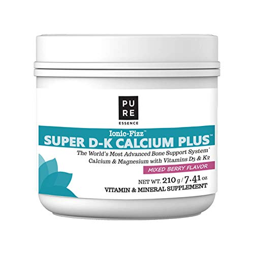 Ionic Fizz Super D-K Calcium Plus by Pure Essence - with Extra Magnesium, Vitamin D3, Vitamin K2 for Strong Bones and Stress Relief - Mixed Berry - 7.41oz