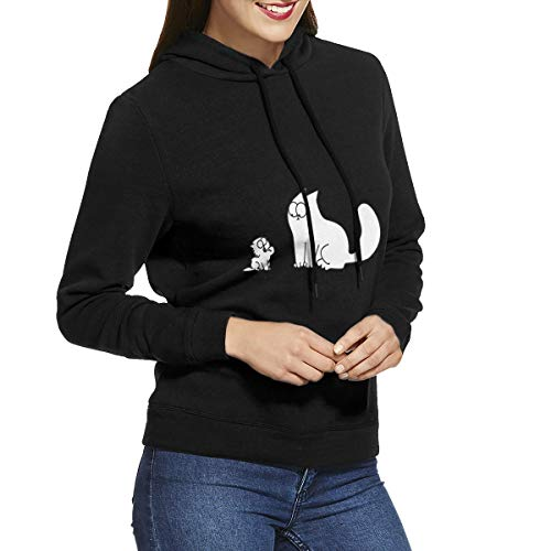 WangGuoPeng Womens Cool Simon's Cat Outdoor Long Sleeve Hoodie M -