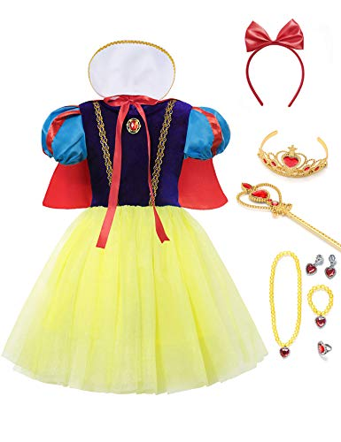 aibeiboutique Snow White Costume for Girls Halloween Princess Dress Up with Accessories ()