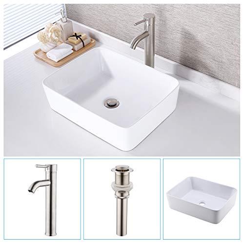 KES Bathroom Vessel Sink and Faucet Combo Bathroom Rectangular White Ceramic Porcelain Counter Top Vanity Bowl Sink Brushed Nickel Faucet, BVS110-C2 ()