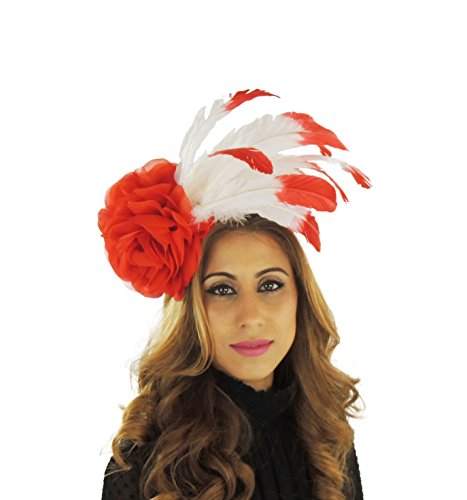 Hats By Cressida Ladies Kentucky Derby Ascot Wedding Fascinator Hat Feather Red & White by Hats By Cressida