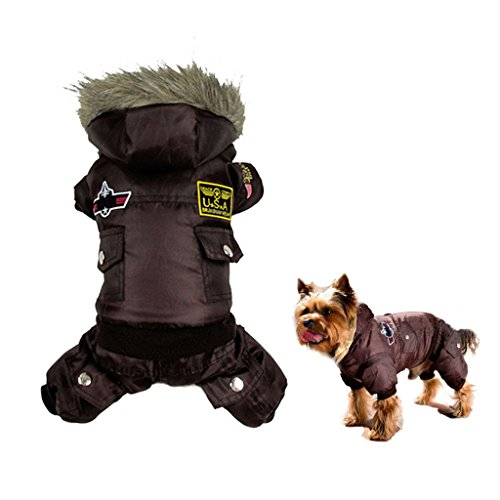 [Gimilife USA Pet Air Force Costume, Cotton Warm Coat with Hood Winter Clothes for Puppy or Cat (M: body-9.4