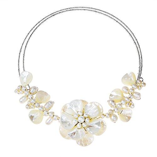 AeraVida Mother of Pearl-Cultured FW Pearls-Fashion Beading Sakura Choker Adjustable Necklace