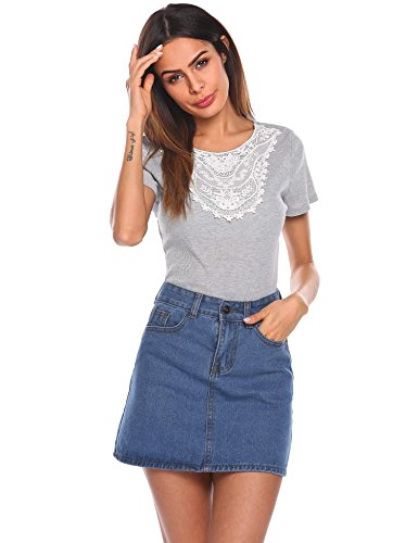 Crochet Inset Skirt (Grabsa Women's Scoop Neck Crochet Lace Inset Blouse Tops Shirt Grey X-Large)