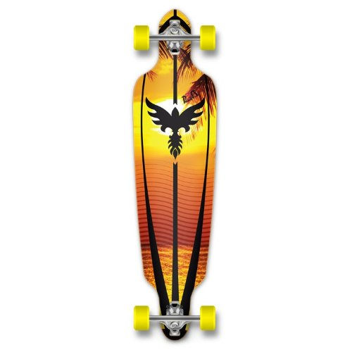 New Graphics Drop Through Complete Longboard Professional Speed Skateboard (Sunset) ()