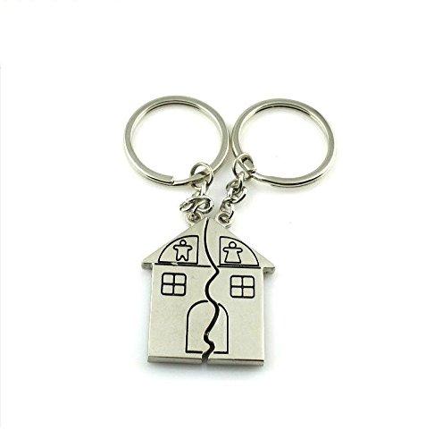 ZHJZ Duo de porte-clés magnétiques spécial couple en forme de maison