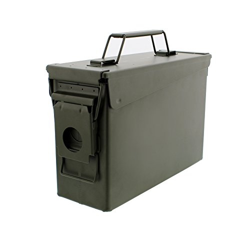 30 Cal Metal Ammo Case Can – Military and Army Solid Steel Holder Box for Long-Term Shotgun Rifle Nerf Gun Ammo Storage