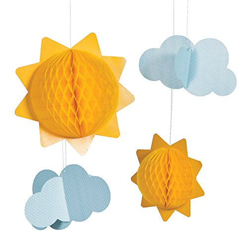 - Fun Express - You Are My Sunshine Tissue Balls (6pc) for Birthday - Party Decor - Hanging Decor - Tissue - Birthday - 6 Pieces