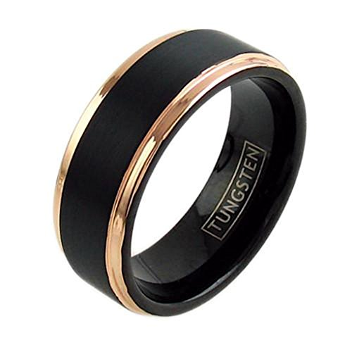 Black Tungsten Ring Rose Gold Edge Wedding Band Men & Women Free Personalized Engraving (tungsten (6MM), 10)