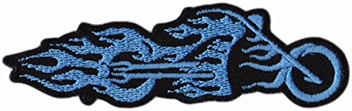 Motorbike Biker Patch Blue Flame Embroidered Patch Iron on Patches Sew on Patches Embroidery Applications Applique Patches for Clothing Badge Backpack Jacket Jeans Hat Hoodie - Treasure-Quest - Flame Embroidery