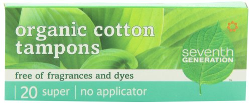Seventh Generation Chlorine Free Organic Cotton Tampons, Super, non-applicator, 20-count packages (Pack of 12) (240 tampons) (Chlorine Free Tampons Non Applicator)