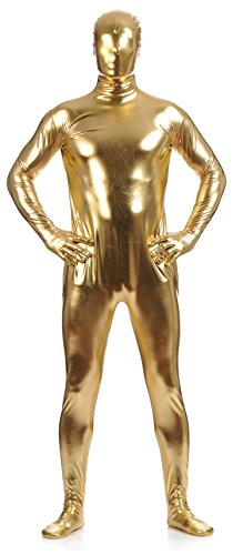 Superman Second Skin Costume (VSVO Unisex Metallic Second Skin Spandex Full Body Suit for Adults and Children (Kids Small, Gold))