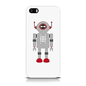 iPhone 5 / 5S Vintage Retro Robot Back Cover Case / Shell / Shield - Grey Robot With Red Antenna By Terrapin (Designed Exclusively By Creative 11)