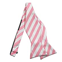Baby Pink & White Striped Bow Tie Set - Cufflinks Hanky (Bow Tie ONLY)