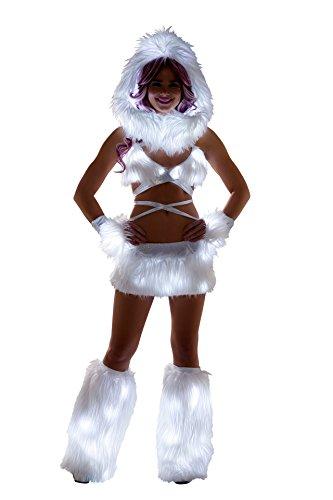 1 PC Fur Light-up Mini Skirt Rave EDM Festival Party Costume - Multiple (Halloween Costume Club Los Angeles)