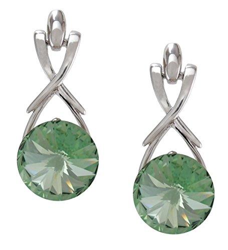 August Birthstone Peridot Color Earrings with Swarovski Crystal Set in Platinum.