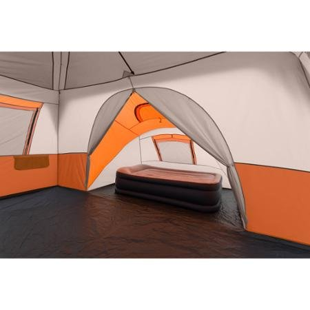 Ozark Trail 11 PersonBest Family Camping Tents Reviews.  3 Room 14' x 14' Instant Cabin Tent, Orange, Spacious that can Fit Two Queen Airbeds, Made of Durable Polyester and Steel, Camping, Outdoor