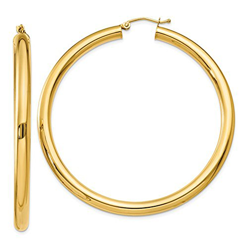 14K Yellow Gold Thick Tube Hoop Earrings w/ Click-Down Clasp, 55mm (4mm Tube) (55mm Hoop)