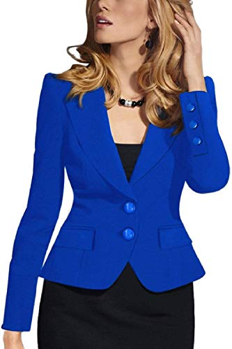 Tailleur Leisure Fit Business Bavero Di Moda Puro Button Giubotto Da Giacca Lunga Suit Blu Marca Colore Autunno Donna Slim Cappotto Manica Mode Corto xCqATYwrC