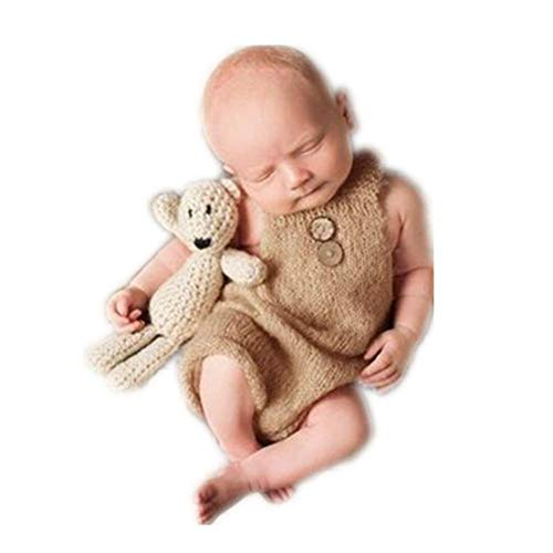 Vemonllas Luxury Fashion Unisex Newborn Baby Girl Boy Outfits Photography Props Rompers (Camel)