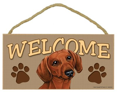 (SJT ENTERPRISES, INC. Dachshund (Brown) Welcome Sign 5