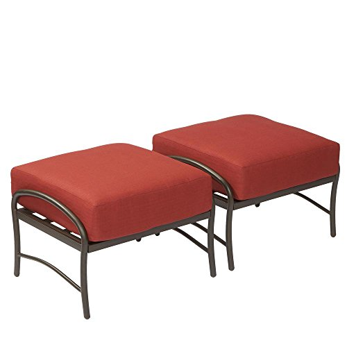 Hampton Bay Oak Cliff Metal Outdoor Ottoman with Chili Cushion (2-Pack) ()