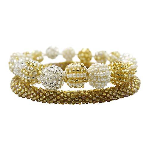 Aid Through Trade Beaded Modern Globe & Roll-on Bracelet Set (Golden)