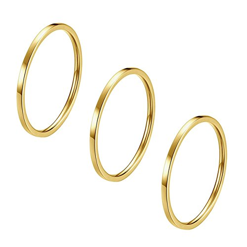 IFUAQZ 3pcs 1mm Stainless Steel Plain Band Knuckle Stacking Midi Rings for Women Girls Comfort Fit Gold Size 3