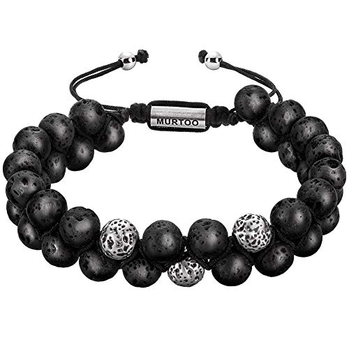 murtoo Mens Lava Rock Bracelet, Tiger Eye Bead Bracelet for Men Natural Stone Yoga Essential Oil Bracelets for Gift (Black-Antique Silver, 7.5)