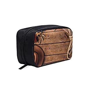 Cowboy Hat And Scarf Wild West Portable Travel Makeup Cosmetic Bags Organizer Multifunction Case Small Toiletry Bags For Women And Men Brushes Case