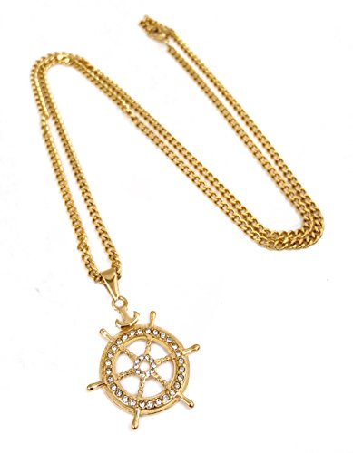 Ships Wheel Pendant - 18k Gold Plated Ship's Wheel Pendant Stainless Steel Necklace with 24