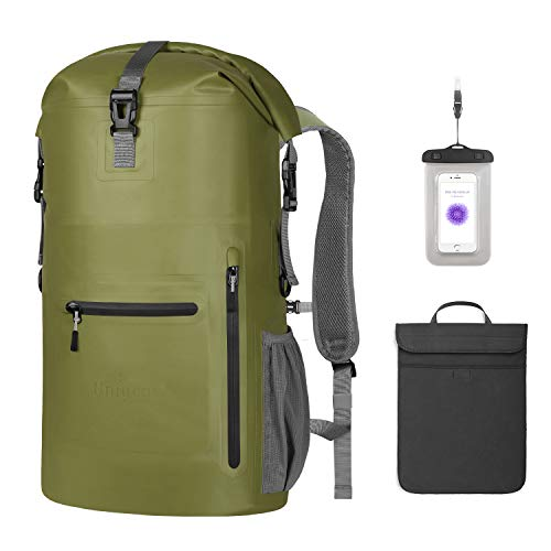 Unigear Waterproof Backpack Floating Dry Bag 35L with a Detachable Laptop Bag and 4 Zipper Pockets, Ventilated Padded Back and Straps for Comfort (Army Green-35L)