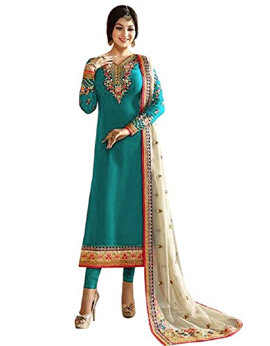 Laxminarayan Ready Made Green Georgette Embroidered India Pakistan Long Churidar Salwar Suit (Customize Stitched) (Green Georgette Suit)