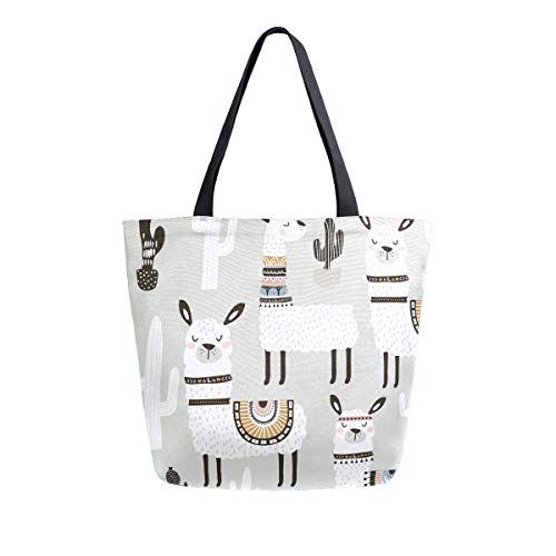 SUABO White Llama Canvas Tote Bag Large Women Casual Shoulder Bag Handbag, Reusable Shopping Grocery Bag for Outdoors