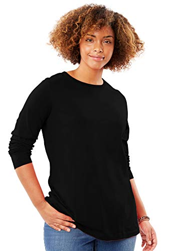 (Woman Within Women's Plus Size Perfect Crewneck Long Sleeve Tee - Black, L)