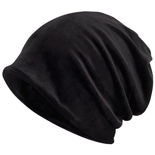 Kuyou Women's Multifunction Pure velvet pattern Hat Skull Cap scarf (Black)