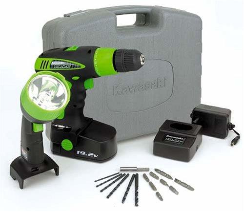 Kawasaki 840052 Black 19.2-Volt Cordless Drill and Worklight Kit