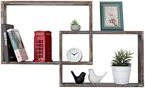 MyGift Wall-Mounted Torched Wood Floating Display Shelves, Interlocking Shadow Boxes