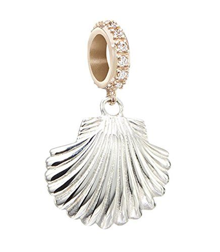 Chamilia Sterling Silver and 14K Rose Gold Sea Scallop with White Zirconia Swarovski Bead Charm - Trollbeads Rose