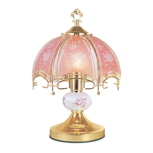 OK Lighting OK-609PR 14.25-Inch Touch Lamp with Pink Glass Floral Theme, Gold