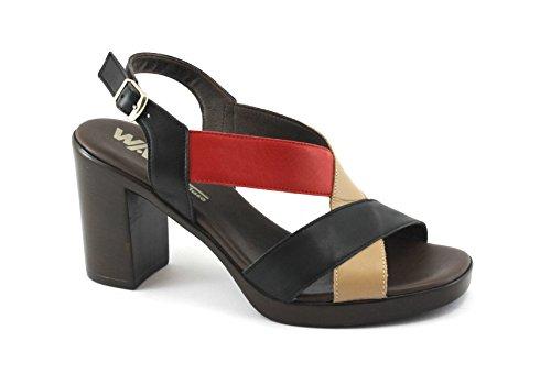 Melluso Mujer Negro Bandas Correa de Talón de Los Zapatos Sandalia R8520E Nero