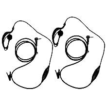 abcGoodefg® G Shape Clip-Ear Headset/Earpiece Mic for Motorola Talkabout MD200TPR MH230R MR350R MS350R MT350R MG160A MH230TPR 2 Two Way Radio Walkie Talkie 1-pin (2PCS)