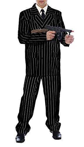 Rimi Hanger Mens Gangster Costume Adults 1920 Black Pinstripe Gangster Fancy Dress Outfit Black Gangster Costume One Size ()