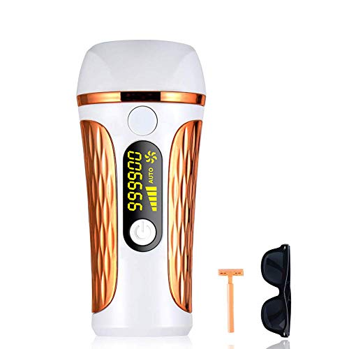 Facial & Body Permanent Laser Hair Removal for Women, 999,900 Flashes IPL Hair Remover System with Display Screen(Golden)