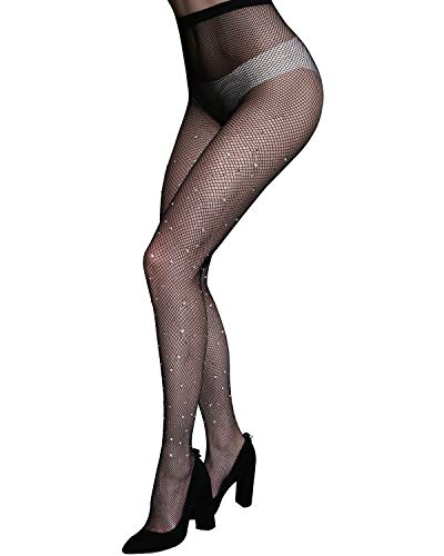 (NORMOV Sparkle Rhinestone Fishnets-Women's Fishnet Stocking Sheer Tights)