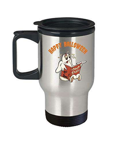Halloween Happy Travel Mug Ghost Scary Stories Coffee Funny Gift Idea For Novelty Joke Gag]()