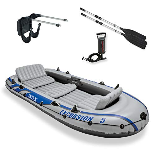 Motor Inflatable Boats - Intex Excursion 5 Inflatable Rafting and Fishing Boat with Oars + Motor Mount