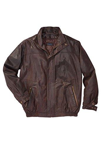 KingSize Men's Big & Tall Leather Bomber Jacket, Brown Tall-2Xl